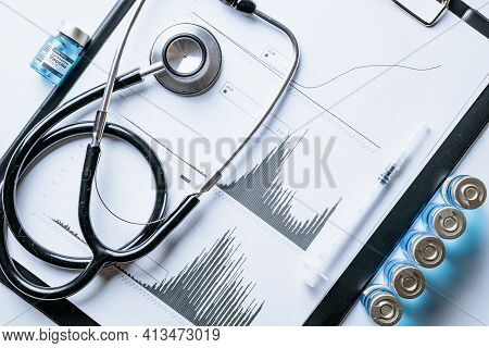 Statistics Covid. Doctor Stethoscope, Hospital Healthcare Infographic Charts And Analytic Medical St