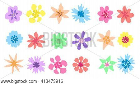 Set Of Vector Flowers Isolated On White. Spring Flower Icons. Symbols Of Nature, Illustration Of Rom