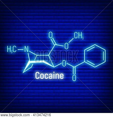 Cocaine Glow Neon Style Concept Chemical Formula Icon Label, Text Font Vector Illustration, Isolated