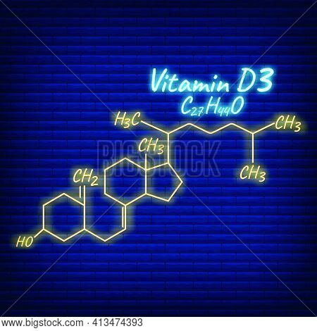 Vitamin D3 Label And Icon Glow Neon Style. Vector Illustration Isolated On Wall Background. Chemical