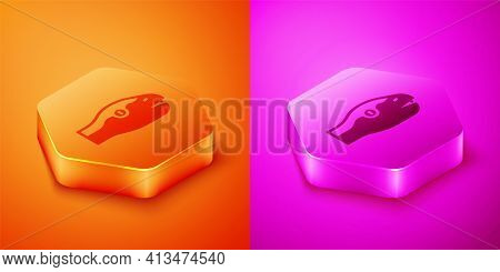 Isometric Snake Icon Isolated On Orange And Pink Background. Hexagon Button. Vector