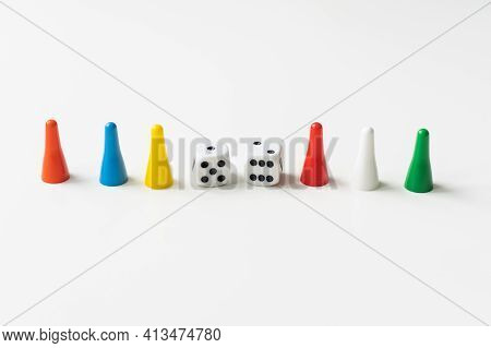 Game Cubes, Chips, Hourglass On A White Background. The Concept Of Home Board Games, Classes At Home