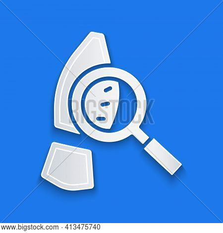 Paper Cut Magnifying Glass With Footsteps Icon Isolated On Blue Background. Detective Is Investigati
