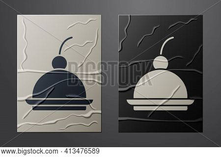 White Cherry Cheesecake Slice With Fruit Topping Icon Isolated On Crumpled Paper Background. Paper A