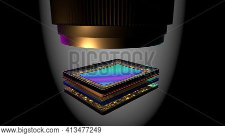 Curved Sensor For Digital Camera With Lens, Prototype 3d Rendering, Stacked: Matrix, Magnetic Bender