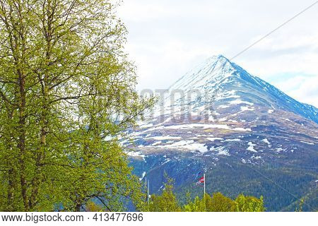 View At Mountain Gaustatoppen And Town Rjukan, Norway, Spring Landscape