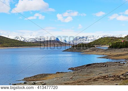 Spring Arctic Landscape With Mountains, Lake And Tundra, Sunny Day, Mosvatn, Norway