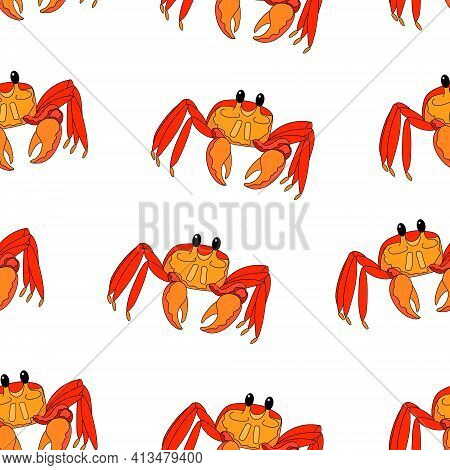 Seamless Pattern Of Crab. Sea Crab Wallpaper. Hand Drawing In Cartoon Style. Vector Illustration For
