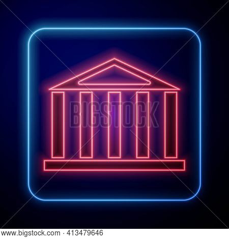 Glowing Neon Parthenon From Athens, Acropolis, Greece Icon Isolated On Black Background. Greek Ancie