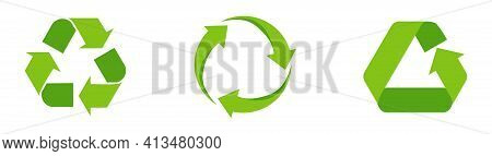 Set Of Green Recycling Signs, Arrow Icons Isolated On White. Recycling Environmental Symbols. Recycl