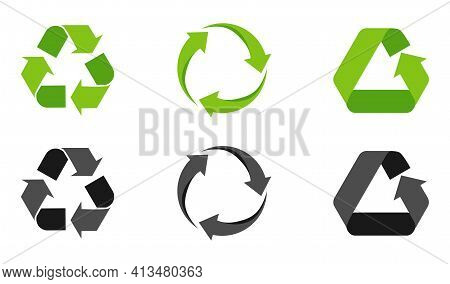Set Of Recycling Signs, Arrow Icons Isolated On White. Recycling Environmental Symbols. Recycling Si