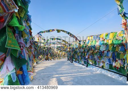 Wild Horse Prayer Flags Flutter In The Wind Over Clear Blue Sky. Rinpoche Bagsha Buddhist Monastery