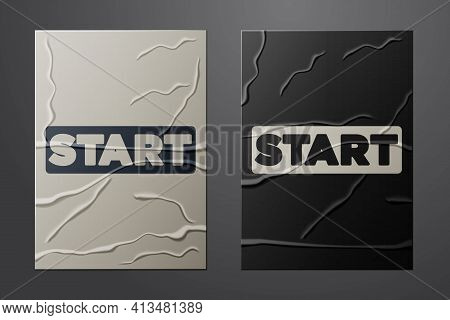 White Ribbon In Finishing Line Icon Isolated On Crumpled Paper Background. Symbol Of Finish Line. Sp