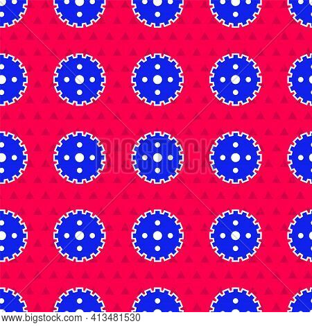 Blue Bicycle Sprocket Crank Icon Isolated Seamless Pattern On Red Background. Vector