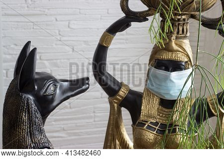 Still Life Of Statues Of Mythology Jackal Anubis Inpu Anup And Cleopatra's Statue Of A Nubian Servan