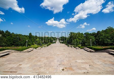 Monumental Stairs At Carol 1 Park Bucharest, Leading To The Park. Picture Taken From The Mausoleum P