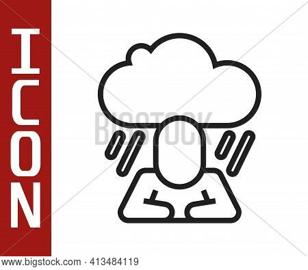 Black Line Depression And Frustration Icon Isolated On White Background. Man In Depressive State Of