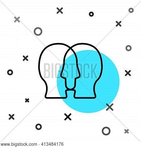Black Line Bipolar Disorder Icon Isolated On White Background. Random Dynamic Shapes. Vector
