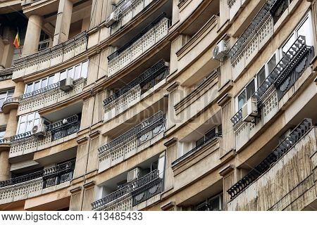 Bucharest, Romania - 12.08.2019: Curved Apartment Building Block, With Curved Balconies. Built In Th