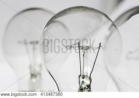 Incandescent Light Bulbs With No Electric Power, On White Background. Not Powered Bulbs.
