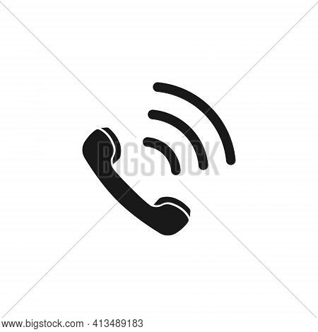 Realistic Vector Icon Of The Handset During A Call. Outgoing And Incoming Call. Flat Design
