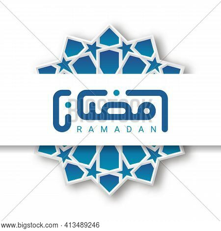 Ramadan Greetings Card With Kufic Modern Calligraphy Isolated On White. Vector Illustration.