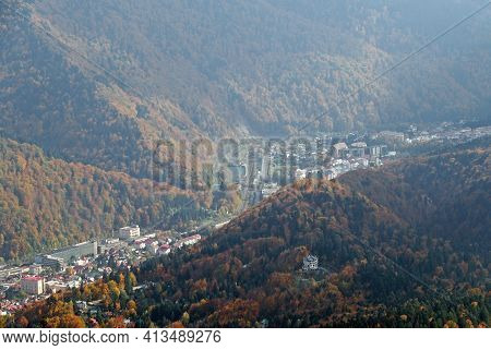 Sinaia City In Prahova Region - Romania, Seen From High Altitude, At 2000 Meter.