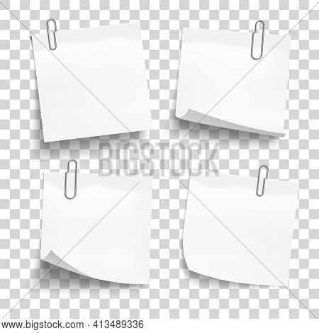 White Sheets Of Paper With Metal Paper Clips. Metal Paper Clips Attached To Note Papers. Vector Illu