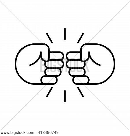 Fist Bump Line Icon. Bro Fist Bump Or Power Five Pound Outline Style For Apps And Websites. Hand Bro