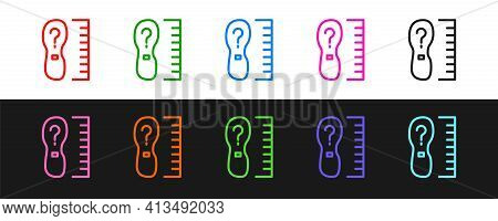 Set Line Square Measure Foot Size Icon Isolated On Black And White Background. Shoe Size, Bare Foot