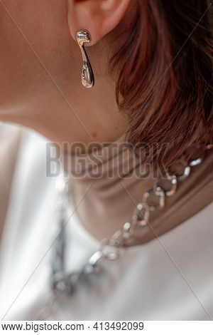 Womens Earrings, Jewelry, Earrings At The Ear Of A Beautiful Girl, Womens Accessories, Gold Earrings