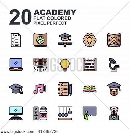 Icon Set Of Academy. Line Color Icons Vector. Contains Such Of Geography, Owl Graduation, Music, Exa