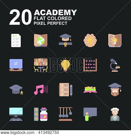 Icon Set Of Academy. Flat Color Style Icon Vector. Contains Such Of Geography, Owl Graduation, Music