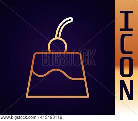 Gold Line Pudding Custard With Caramel Glaze Icon Isolated On Black Background. Vector