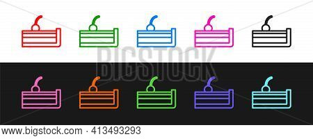 Set Line Cherry Cheesecake Slice With Fruit Topping Icon Isolated On Black And White Background. Vec