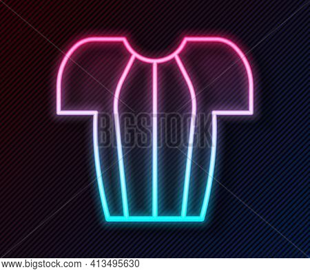Glowing Neon Line Cycling T-shirt Icon Isolated On Black Background. Cycling Jersey. Bicycle Apparel