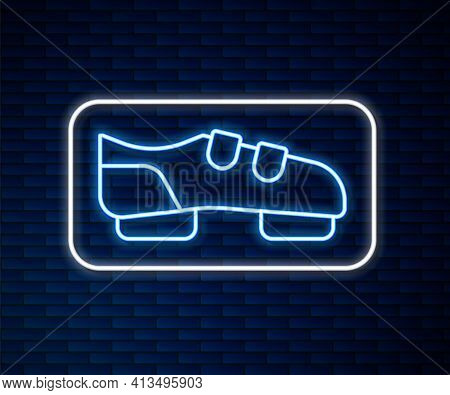 Glowing Neon Line Triathlon Cycling Shoes Icon Isolated On Brick Wall Background. Sport Shoes, Bicyc