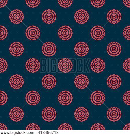 Red Line Bicycle Cassette Mountain Bike Icon Isolated Seamless Pattern On Black Background. Rear Bic