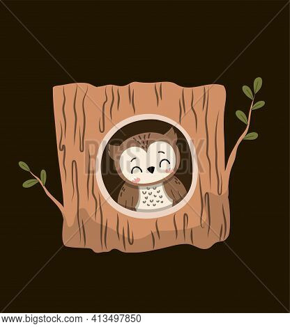 Cute Little Cartoon Owl Inside A Hollow Woodland Tree Peering Out At The Viewer Over A Black Backgro