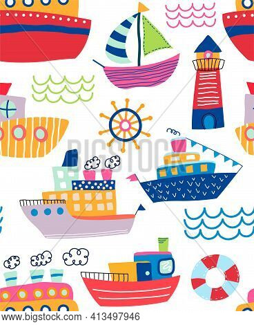 Colorful Childish Seamless Pattern Of Assorted Hand Drawn Ships And Lighthouse With Ocean Waves And