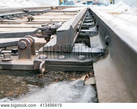 Railroad Switch Of Railroads. Junction Switching. Close-up.