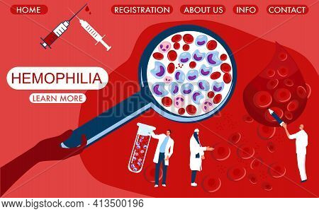 World Hemophilia Day Concept. Magnifier With Cancer Blood Full Of Leukocytes.tiny Doctors Make Labor