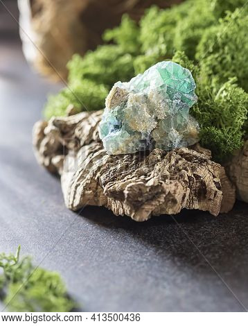 Minerals, Crystal On Nature Background. Crystal Ritual, Healing Crystals. Natural Gemstones. Gemston