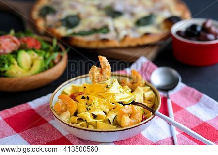Pappardelle Pasta With Shrimps. Pasta With Shrimps And Tomatoes. Italian Cuisine. Homemade Italian P