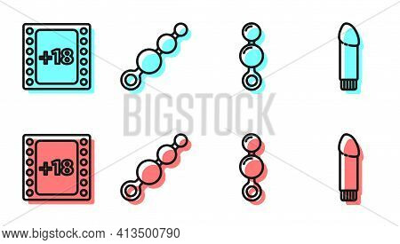 Set Line Anal Beads, Play Video With 18 Plus Content, Anal Beads And Dildo Vibrator Icon. Vector