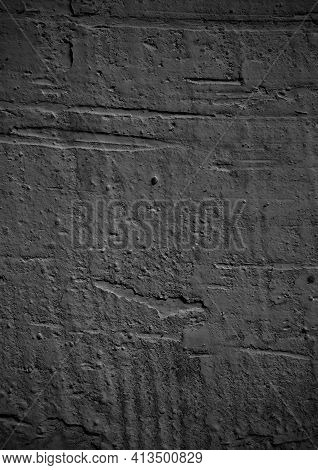 Black And White Concrete. Old Wall Texture Cement Dark Black Gray Background. Abstract Design Gray L