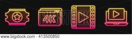 Set Line Play Video, Cinema Ticket, Online Play Video With 4k And Online Play Video. Glowing Neon Ic