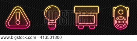 Set Line Fuse, Exclamation Mark In Triangle, Light Bulb With Concept Of Idea And Electrical Outlet.