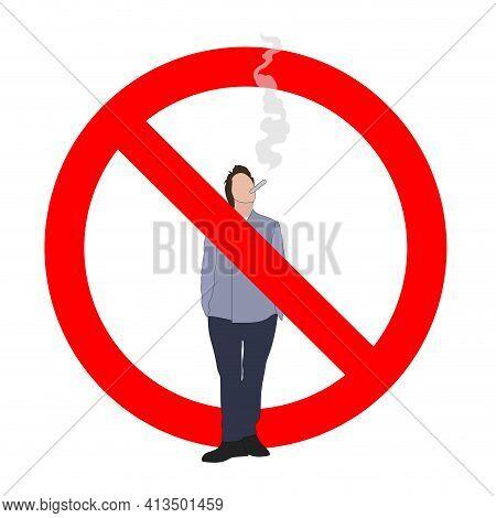 Unhealthy Habit Prohibit, Interdiction Smoking Male, Vector Illustration Ban Smoke Area, Not Smoking