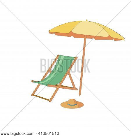 Chaise Lounge With Umbrella Isolated, Summer Concept. Chaise Lounge Umbrella Isolated For Concept De